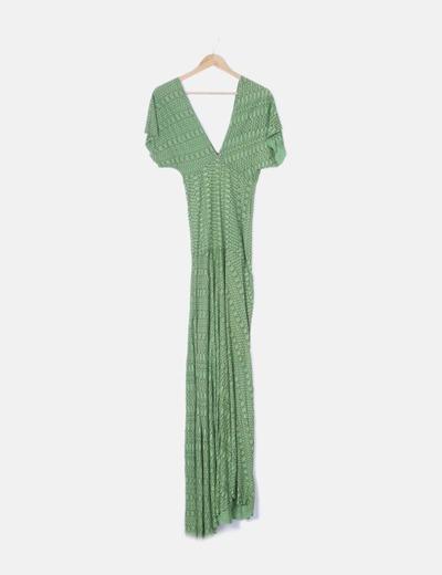 Vestido maxi verde print
