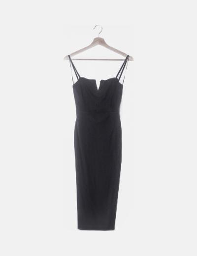 Vestido negro ceñido con botones