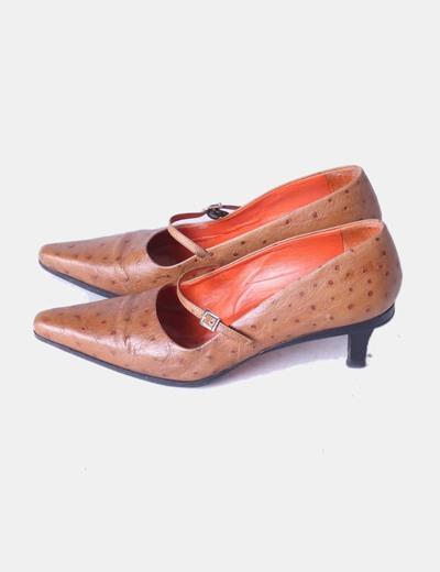 Zapato marrón texturizado de tacón Farrutx