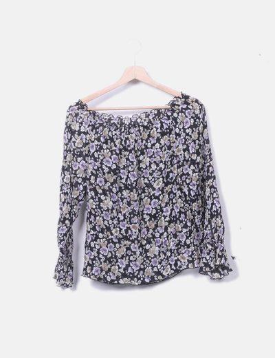 Blusa de gasa estampado floral