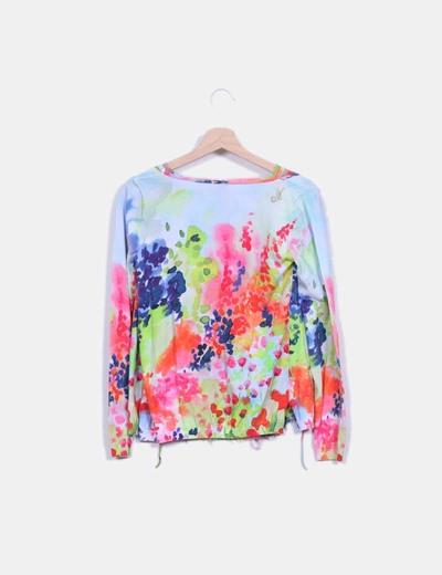 Top tricot multicolor combinado gasa