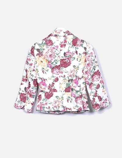 Blazer blanca estampado floral