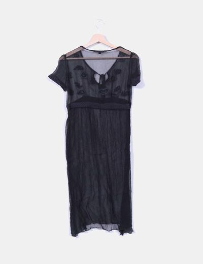Vestido negro transparente bordado