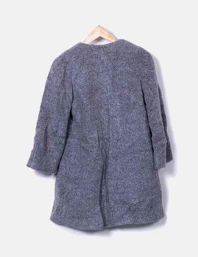 Abrigo de lana gris jaspeado
