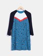 Vestido animal print azul combinado Zara