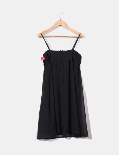Vestido negro gasa escote drapeado