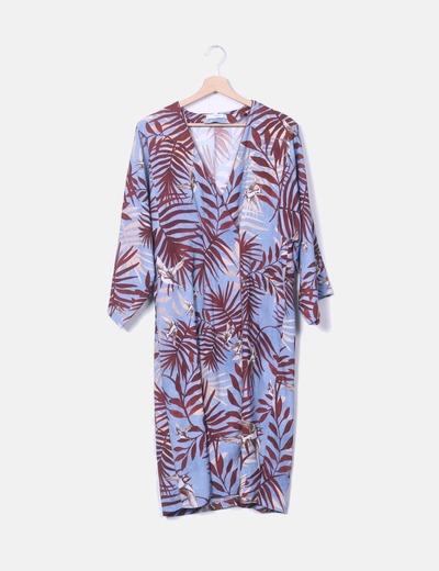 Vestido tropical azul con cinturón