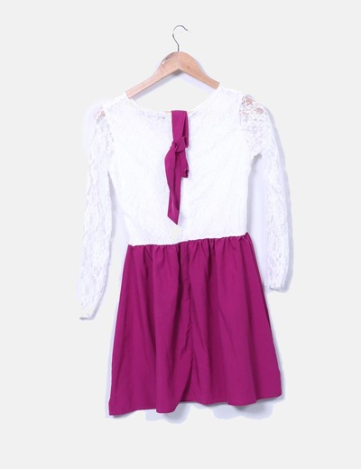 Vestido bicolor con encaje