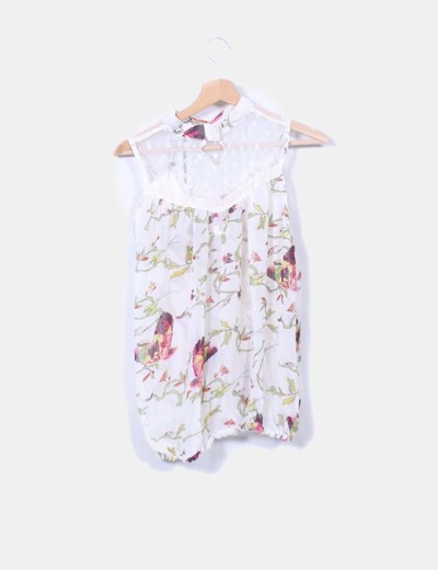 Blusa floral semitransparente abullonada