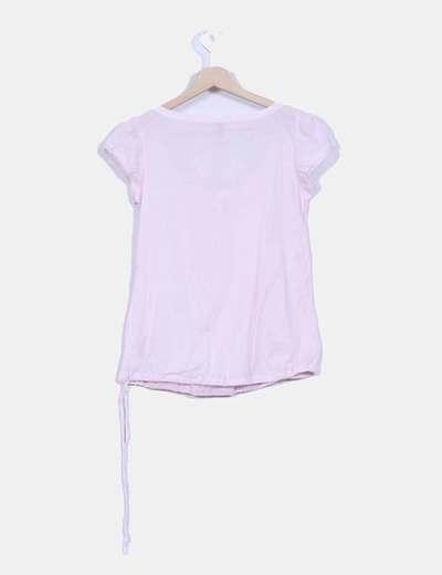 Camisa rosa detalle bordado en escote