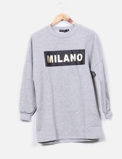 Robe grise -sweat-shirt imprimé en or Pandora