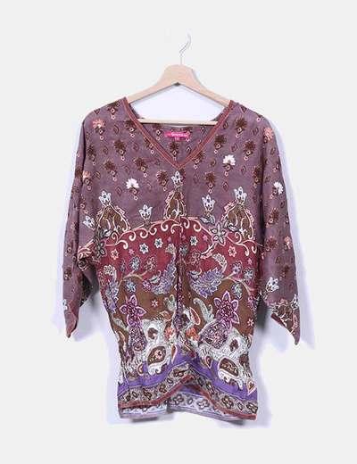 Blusa morada estampado cachemira Flamenco
