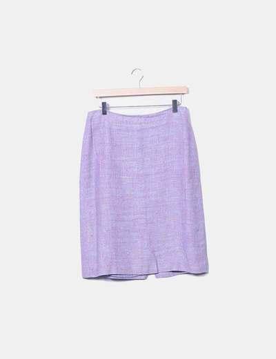Conjunto de falda y blazer jaspeado rosa y azul