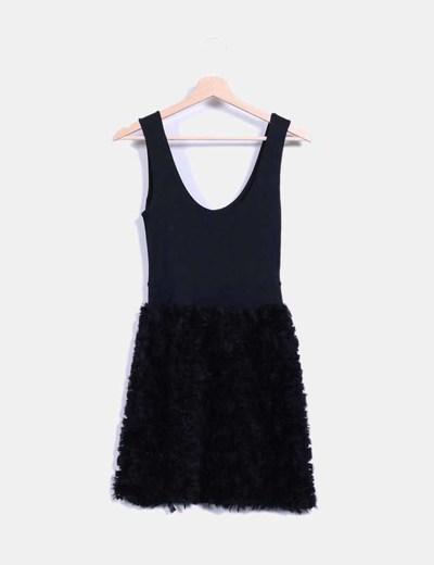 Vestido negro combinado texturizado