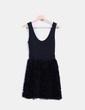 Vestido negro combinado texturizado Zara