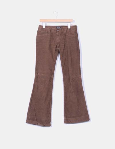 Pantalón marrón de pana con dobladillo Massimo Dutti