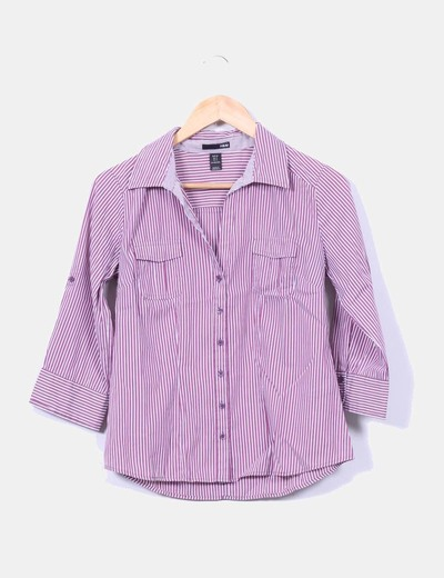 Camisa de rayas color vino H&M