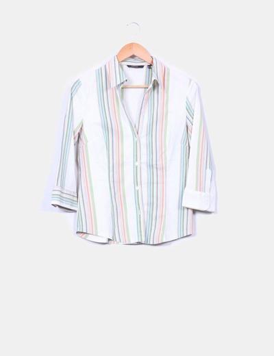 Camisa de rayas multicolor Zara