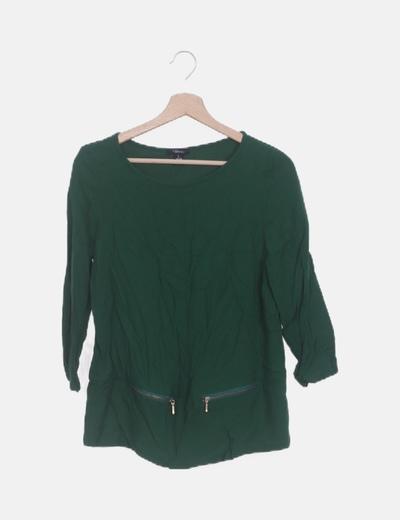 Blusa verde detalle cremalleras