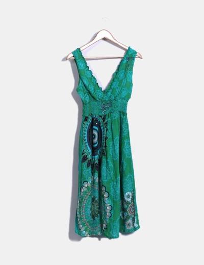 Vestido escote pico en tonos verdes