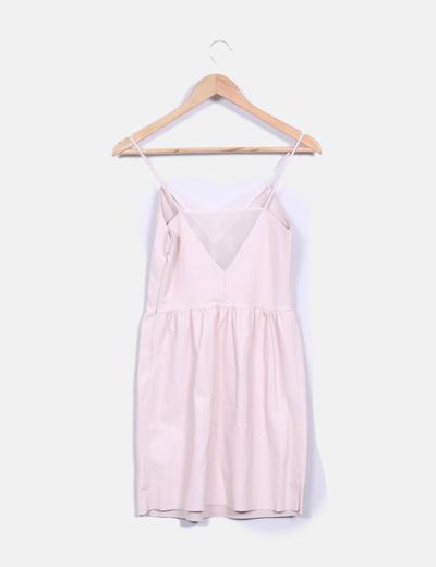 Vestido rosa pastel de polipiel