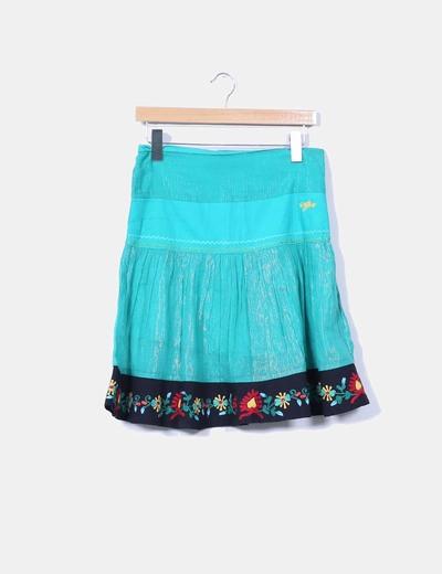 Falda midi verde combinada Pepe Jeans