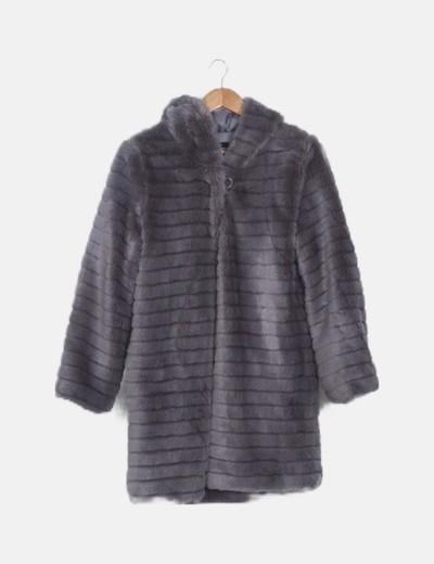 Chaquetón pelo gris con capucha