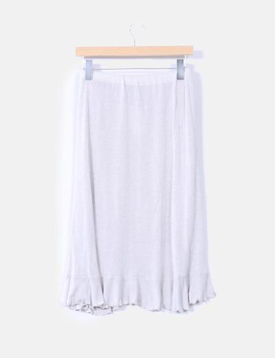 Falda lapiz tricot con volantes color gris