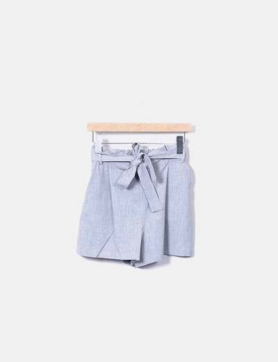 Short fluido gris con lazo Pull&Bear