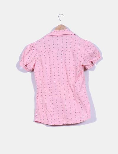 Camisa rosa estampada manga corta