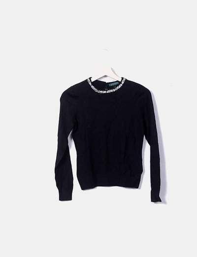 Jersey negro cuello strass Ralph Lauren