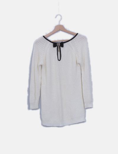 Jersey de punto blanco ribete negro