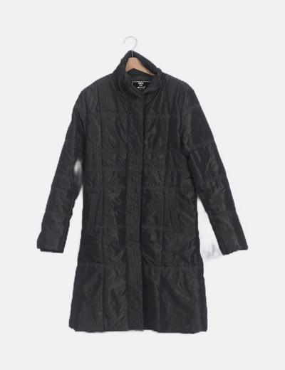 Abrigo largo acolchado verde satén