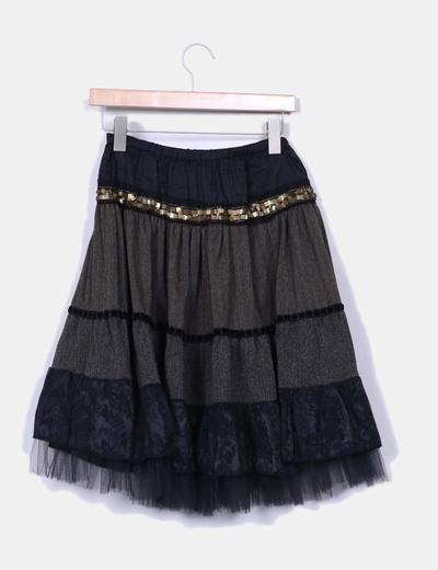 Falda texturizada negra con tul y strass dorados