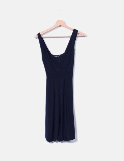 Vestido drapeado azul marino Made in Italy