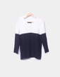Combined navy blue and white sweater Vampy