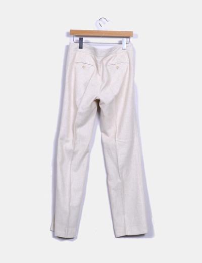 Pantalon texturizado color beige