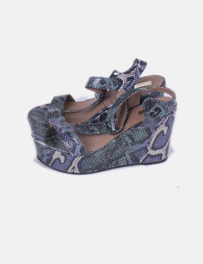 Chaussures vertes de plate-forme imprimé animal Lefties