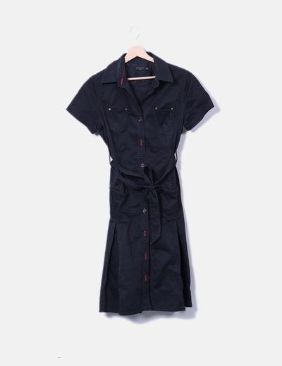 Vestido camisero negro Cortefiel