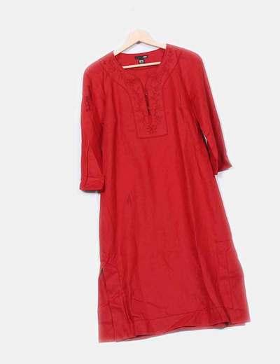 recogido diseño distintivo brillante n color Vestido rojo largo estilo túnica