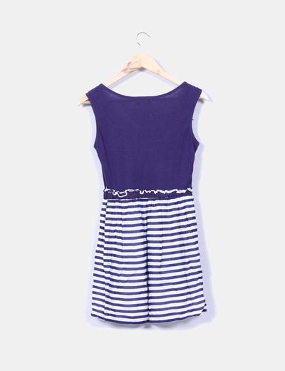 Vestido combinado con rayas marineras