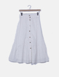Falda blanca bordada con botones Mango
