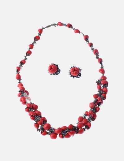 Conjunto collar y pendientes rojos