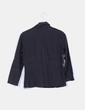 Camisa negra escote pico con manga francesa Mango