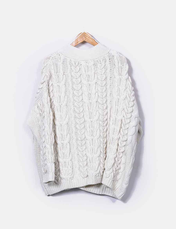 online oversize Chaqueta color Zara grueso y marfil Abrigos punto xw7qHZ6v