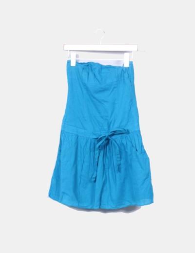 Vestido palabra de honor azul petróleo Zara