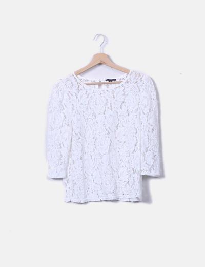 T-shirt blanc en dentelle Kiabi
