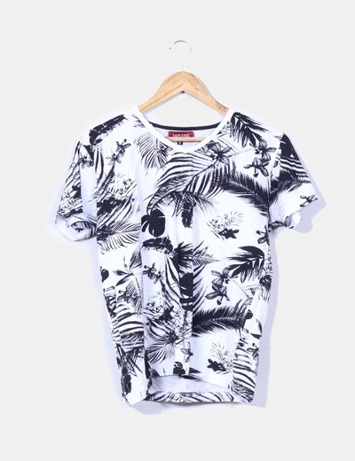 Top estampado tropical blanco y negro Inside