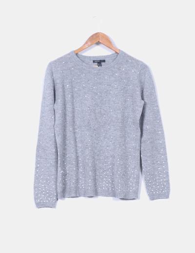 Jersey gris con abalorios