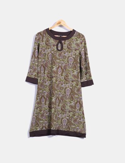 Vestido marrón y verde estampado cachemira Antea